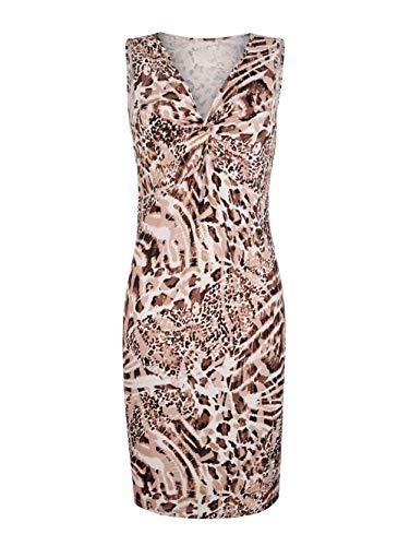Alba Moda Damen Figurbetontes Knielang Kleid Ärmellos in Braun aus Viskose