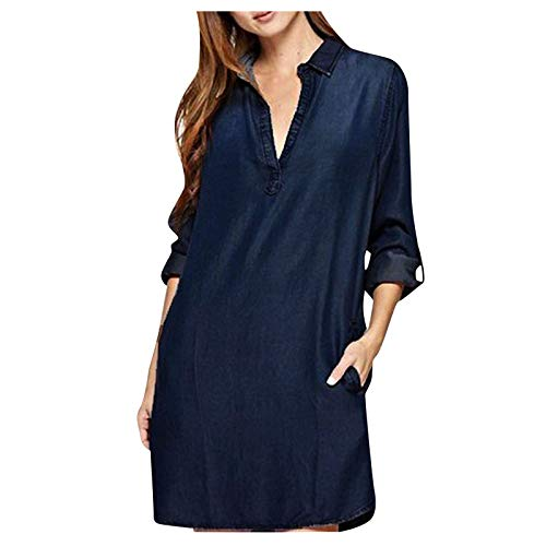 Damen Mode Denim Shirt Blau V-Ausschnitt Langarm Oberteil Vintage Washed Denim Loose...