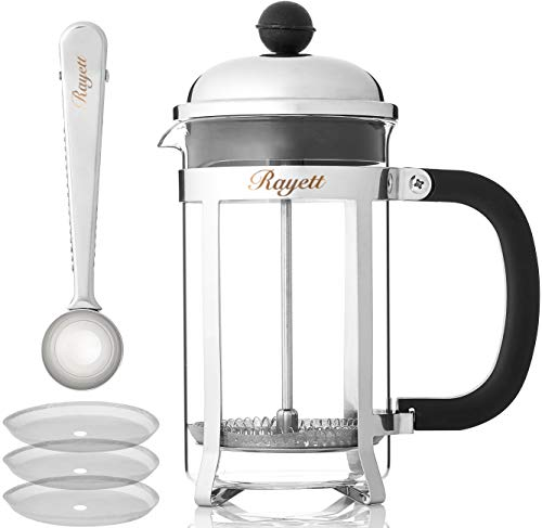 Rayett French Press Coffee Maker, Cup Stainless Steel Cafetiere with 3 Additional Coffee Filters & Measuring Spoon with Sealing Clip