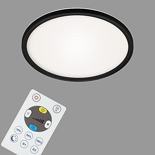 Briloner Leuchten - LED Panel, Deckenleuchte dimmbar, Deckenlampe mit Backlight, inkl. Fernbedienung, 18 Watt, 2400 Lumen, Weiß-Schwarz, 293x28mm (DxH), 7079-015