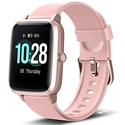 "Letsfit Smart Watch, Fitness Tracker with Heart Rate Monitor, Activity Tracker with 1.3"" Touch Screen, IP68 Waterproof Pedometer Smartwatch with Sleep Monitor, Step Counter for Women and Men (Renewed)"