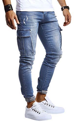 Leif Nelson Herren Jogger Jeans Cargo Hose Stretch Slim Fit Basic Denim Blaue Lange Jogg Jeanshose für Männer Jungen weiße Freizeithose Schwarze Chino Cargohose LN9445 Blau W32L30