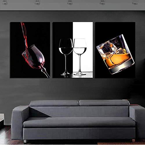 QKQB Copa de Vino Cuadros Decoración para Bar Cocina Habitación Blanco y Negro Arte Lienzo-50x70cmx3 Piezas sin Marco