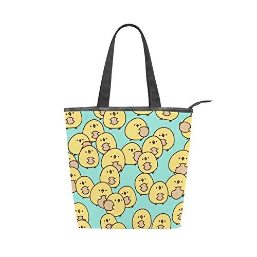JinDoDo - Bolsa de lona con cremallera para mujer, diseño de pollo, para ir de compras, viajes, playa, escuela