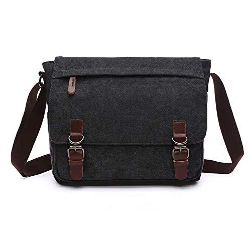 """Canvas Laptop Messenger Bag Travel School Bookbag For 11.6"""" Lenovo Chromebook C330, Dell Inspiron 11, Black, Medium"""