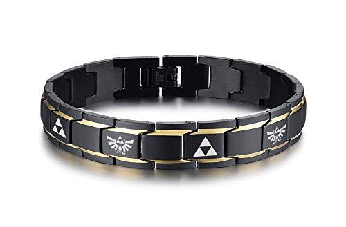 VNOX Two-Tone Stainless Steel The Legend of Zelda Triforce Symbol Hyrule Warrior Link Bracelet Christmas Gift for Men Boys Boyfriend