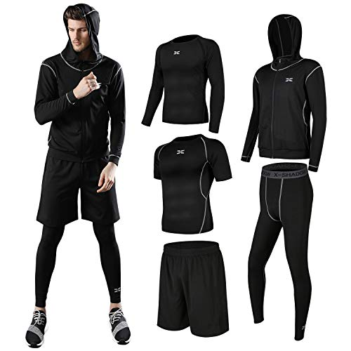 (シーヤ) Seeya コンプレッションウェア セット スポーツウェア メンズ 長袖 半袖 冬 上下 5点セット4カラー トレーニング ランニング 吸汗 速乾 (S, 黒&黒(5点セット))