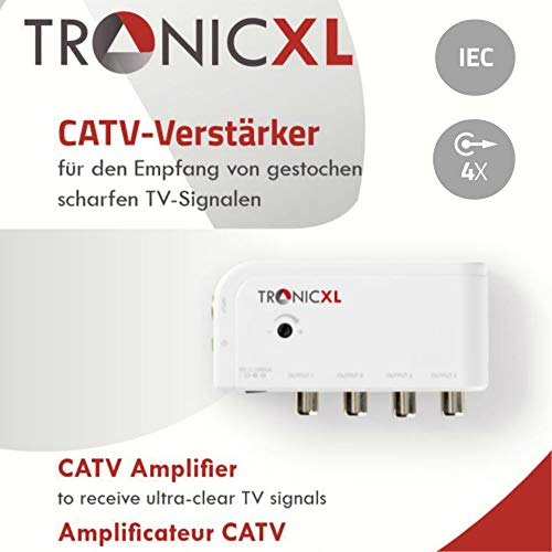 TronicXL DVBT DVBT2 Kabelfernsehen 4-Fach Verteiler mit Verstärker 4 x 10dB Viergeräteverstärker Verteiler + Regler zb kompatibel mit für Unitymedia Kabel Deutschland Vodafone Kabelfernseh DVBC