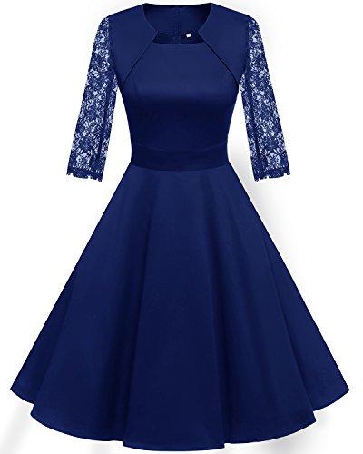 HomRain Damen 50er Vintage Retro Kleid Party Langarm Rockabilly Cocktail Abendkleider Royal Blue-1 3XL