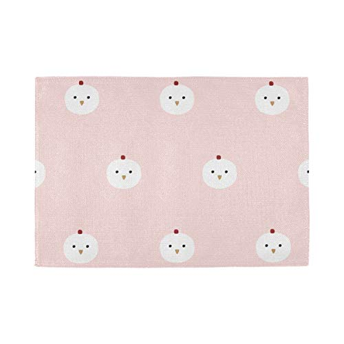 Placemats Set of 6, Heat Insulation Washable Place Mats, Patterncute Chicken Art Design 18 X 12 inches Kitchen Table Mats Placemat for Dining Table