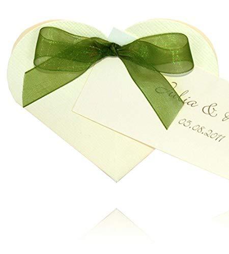 EinsSein 1x Caja de Regalo boda Heart crema cajas bonitas para cajitas regalos bombones carton bolsitas papel chuches bodas bautizo pequeñas pequeña recordatorios comunion navidad decorar invitaciones