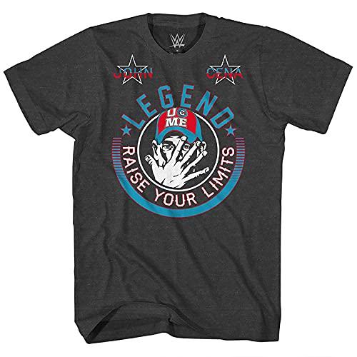 WWE Boys John Cena Shirt - Hustle, Loyalty & Respect Superstar Tee - World Wrestling Champion T-Shirt (Grey, X-Large)
