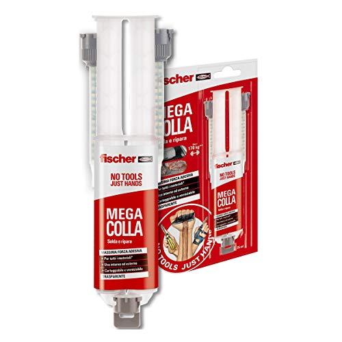 Fischer Mega Colla NTJH 25 ml, Epossidica Bicomponente Extra Forte a Presa Rapida, Fino a 170 Kg, Salda, Ripara, Ideale per Parti di Plastica, Marmo, Metallo, Legno, 2 Miscelatori, 552153