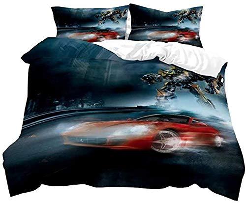 HUA JIE 3D Gedruckt Bettwäsche Set Supstar Tr-An-Sfor-M-Kinder-Bettbezug-Sets Für Kinder Bettbezug-Set Für Jungen Bu-Mble-Be-E De-C-Epti-C-Ons Op-Ti-M-Us