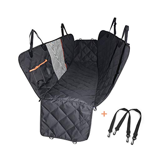 Dog Car Seat Cover Hammock - Car Rear Seat Cover for Pet, Dog Car Mat with Mesh Window and Pocket Durable Waterproof Car Back Seat Protector Anti-slip Whole Rear Seat Mat with Side Flap