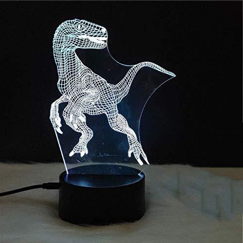 Lámpara de juguete Nightlight 3D Efecto visual Lámparas 3D Luz de Dinosaurio Noche Luz Siete Color Toque DIRIGIÓ Lámpara de mesa pequeña de regalo de luz LUZ DE NOCHE 3D Lámpara DIRIGIÓ ilusión luz no