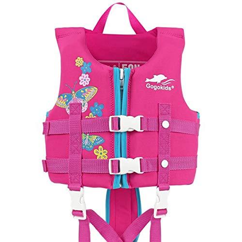 IvyH Schwimmweste für Kinder, Schwimmende Badeanzug Schwimmjacke Neopren Kleinkind Schwimmlernweste Auftriebsweste Junge Mädchen(Rose rot M)