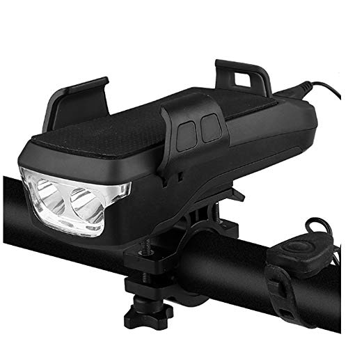 HFXZ2018 Multi-función de luz de Bicicletas, Tres Modos de luz Doble T6 Granos de la lámpara Linterna de la Bici, USB Impermeable de Carga Soporte para teléfono móvil Luces de Bicicleta,Negro