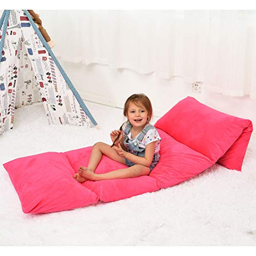 Ohnanana Kids Floor Pillows Bed Cover, Soft Plush,Perfect for Sleepovers Party,Lounger, Seating,Nap Mat,Reading Nook,Playing,Chair.Cover Only… (Hot Pink)