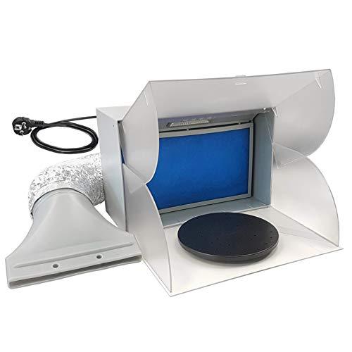 LED-Licht Airbrush-Kabine | Mini Absauganlage 3m³ / min Farbnebel Filter | Spritzkabine/Lackierkabine Modell BD-512