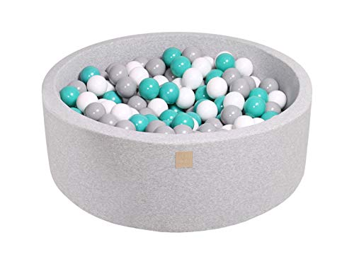 MEOWBABY Foam Ball Pit 35 x 11.5 in /200 Balls Included ∅ 2.75in Round Ball Pool for Baby Kids Soft Children Toddler Playpen Made in EU Light Grey: Turquoise/Grey/White