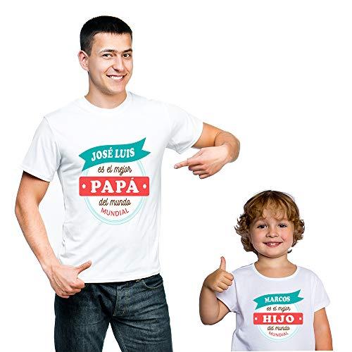 Calledelregalo Regalo Personalizado para Padres e Hijos: Pack de Dos Camisetas Mejor Padre y Mejor Hijo Personalizadas con Sus Nombres