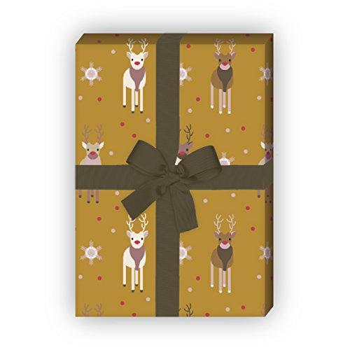 Kartenkaufrausch schattige Rudolf rendier kerstpapierset, decoratief cadeaupapier patroonpapier, designpapier om in te pakken, knutselen, 4 vellen, 32 x 48 cm, beige