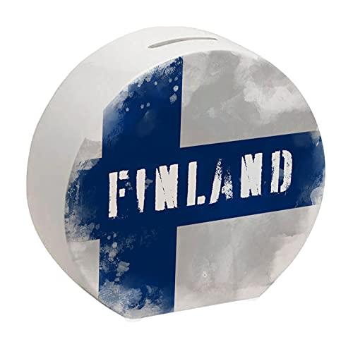 Spardose mit Finnland-Flagge im Used Erscheinungsbild - Sparschwein für Urlauber eine schöne Sparbüchse mit der finnischen Nationalflagge verziert um auf die Reise nach Finnland zu sparen
