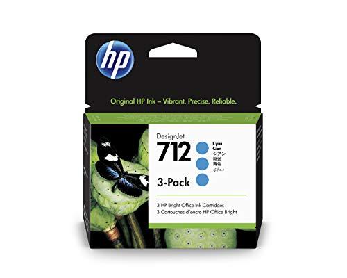 HP 712 3ED77A Cian, Paquete de 3 Cartuchos de Tinta Original HP, de 29ml, para Impresoras Plotter de Gran Formato HP DesignJet Series T650, T630, T250, T230 y Studio y Cabezal de Impresión HP 713