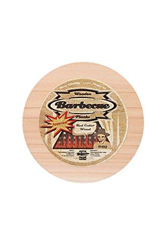 Axtschlag runde Räucherbretter, 4 Appetizer zum schonenden Garen mit Rauch- & Holzaroma, aromatisches Zedernholz, Durchmesser 110 mm, beidseitig verwendbar