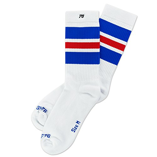 Spirit of 76 Herren & Damen Retro Skater Socken Sportsocken Halblang Tubesocks 39 40 41 42 Weiß - Blau - Rot Lo (M)