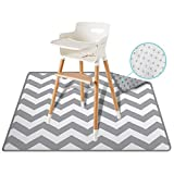 54' Large REIGNDROP Splat Mat for High Chair, Play Mat, Picnic, Art, Crafts for Baby, Kids, Non Slip, Waterproof, Washable, Portable, Durable, Reusable Splash, Spill Mat for Pet (Chevron)