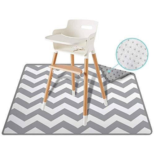 54 Large ReignDrop Splat Mat for High Chair, Play Mat, Picnic, Art, Crafts for Baby, Kids, Non Slip, Waterproof, Washable, Portable, Durable, Reusable Splash, Spill Mat for Pet (Chevron)