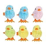 Amosfun Juguete de cuerda de peluche, pollito de viento, juguete para dar cuerda, regalo para bebés y niños, 6 unidades