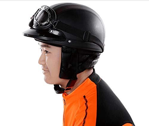 KKmoon Motorrad Scooter gesichtsoffen halbe Leder Helm mit Visier UV-Schutzbrillen Retro Vintage-Stil 54-60cm(Schwarz) - 7