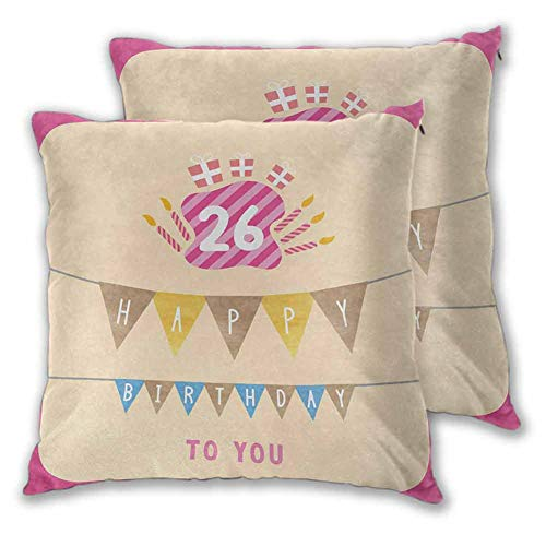"pillow by Anniversary Flag with Best Wishes Message Life Modern Design Print Exquisite decorative pillowcases for home use, super soft handmade decorative pillowcases for bed, 2 sets, W20""xL25"""