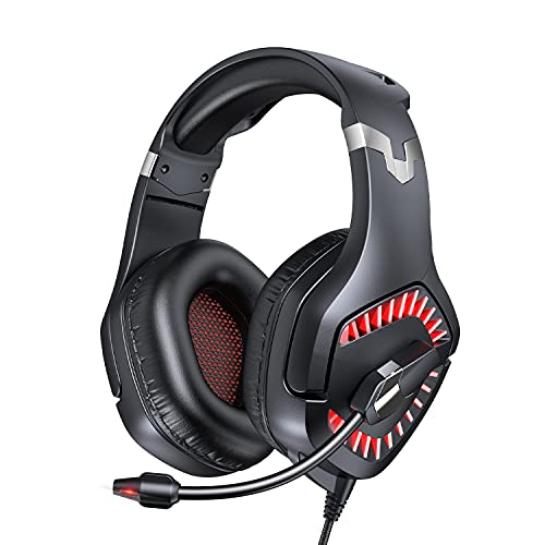 DIOWING Gaming Headset, Xbox One Headset with Stereo Sound, Noise Cancelling Mic and LED Light, Over Ear Headset with Soft Memory Earmuffs for Laptop PC Mac Super Nintendo PS4 PS5 Xbox One, Red