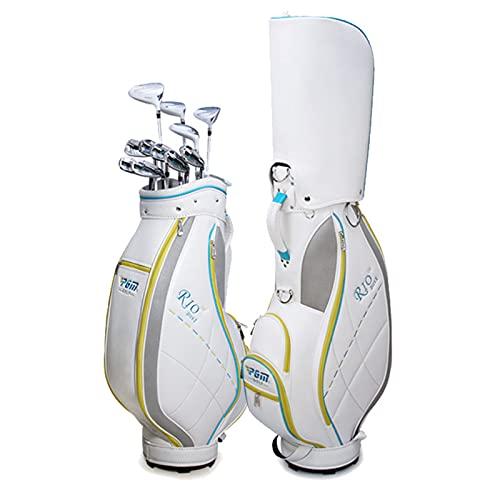 Bolsa de Golf para Mujer, Organizador de Bolsa de Golf de Cuero Impermeable, Bolsa de Viaje de Golf Ligera Portátil Sunday Bag, Puede Llevar 14 Palos de Golf