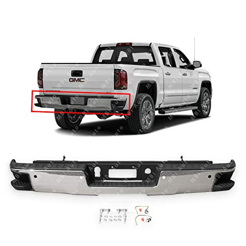 MBI AUTO - Chrome Steel, Rear Step Bumper Assembly for 2014-2018 Chevy Silverado & GMC Sierra 1500 Series W/Park Assist Holes, GM1103175