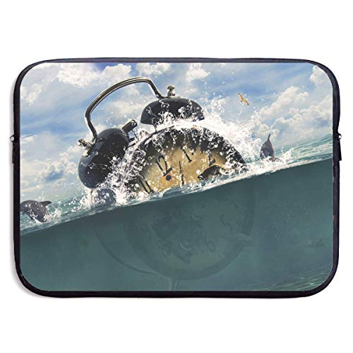 QUEMIN Mode Computer Liner Hülle Fall Ocean Wecker Kunst tragbare Laptop Schutzhülle Abdeckung Handtasche für MacBook Pro/MacBook Air/Asus/Dell , 15inch