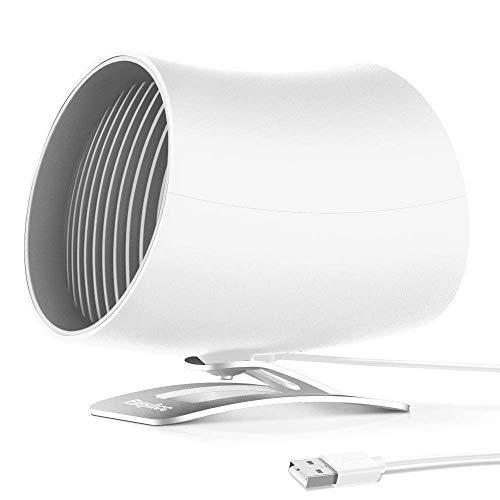 EasyAcc USB Ventilator Doppelblatt Mini Tischventilator Berührungsschalter Tragbarer Persönlicher USB Lüfter mit und 2 Verstellbarer Lüfter für Büro Zuhause - Weiß