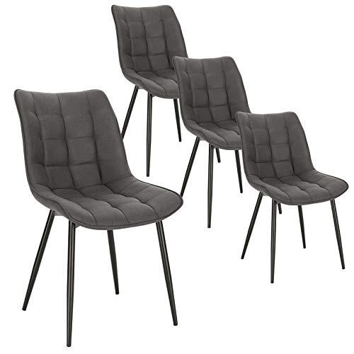 WOLTU Pack de 4 Sillas de Comedor Asiento de Tela Dining Chairs Silla Diseño Silla Tapizada Estructura Metálica Sillón con Respaldo Sillas de Cocina Gris Oscuro BH247dgr-4