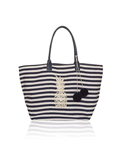 Ashiana Nautical Stripes strandtas met gouden ananas print