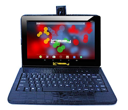 """LINSAY 10.1"""" 1280x800 IPS Screen Quad Core Tablet 16GB with Black Crocodile Style Keyboard Case"""