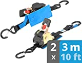 valonic Automatik Spanngurt mit Haken   mit Ratsche   gepolstert   EN-12195-2   300 Kg   schwarz   Zurrgurte Spanngurte für Motorrad   2 Stück   3m   25mm
