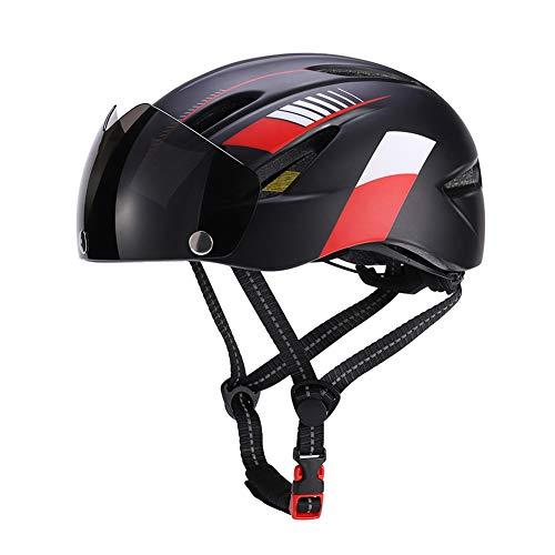 Casco de bicicleta unisex ajustable con luz de seguridad y visera para...