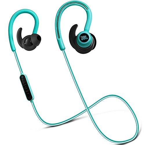 JBL Reflect Contour Kabellose Bluetooth Sport-Kopfhörer mit Over-Ear-Ohrbügel, Dual-Lock-Technologie und 3-Tasten Inline-Fernbedienung mit Mikro - Türkis