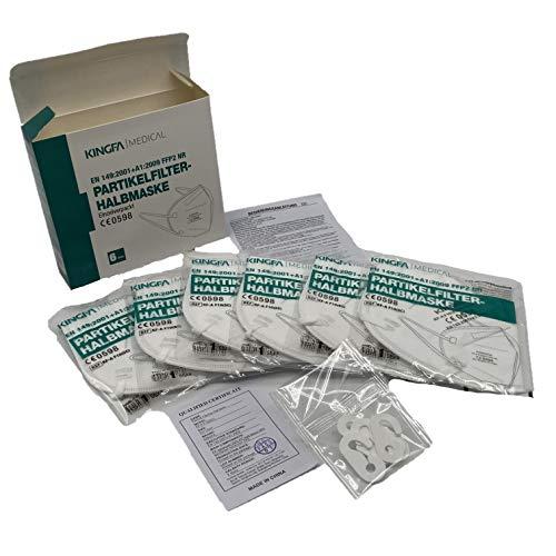 Kingfa FFP2 6er Box CE 0598, Apothekenversion Einzelverpackt Atemschutzmaske mit Ohrschlaufen, Box à 6 Masken einzeln verpackt, KINGFA NR EN149:2001+A1:2009
