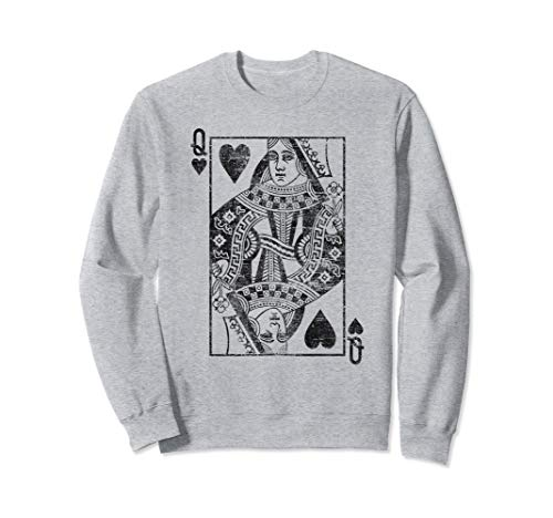 Queen Of Hearts Playing Card Costume Poker, Distressed Sweatshirt