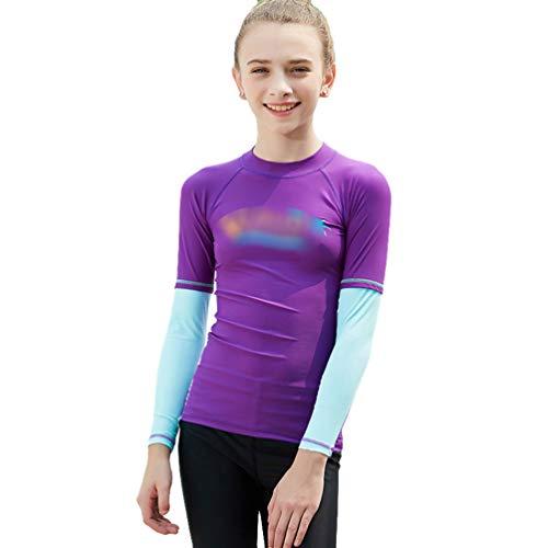 Yuncai Jungen Mädchen Kinder Neoprenanzug UV-Schutz Langarm Zweiteiler Badeanzug Tauchanzug Badeanzug für Wassersport(Lila#1, L)